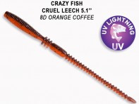 "CRAZY FISH Cruel Leech 5.1"" 13 см 10 шт в уп. ORANGE COFFEE 8D"