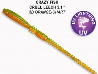 "CRAZY FISH Cruel Leech 5.1"" 13 см 10 шт в уп. ORANGE CHARTREUSE 5D"