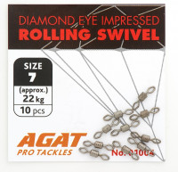 Вертлюжки Agat Diamond Eye Rolling swivell AG-1004, #7 Size 7: 49 lb, 22 kg