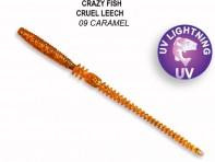"CRAZY FISH Cruel Leech 4"" 10 см 12 шт в уп. CARAMEL 09"