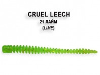 "Съедобная резина CRAZY FISH Cruel Leech 2"" длина 5.5 см 8 шт в уп. LIME 21"