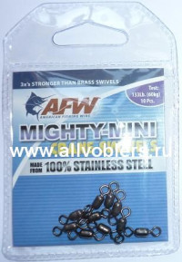 Вертлюжки AFW Mighty-Mini Crane Swivels #10 нагрузка 133LB/60кг (10шт/уп) FWSS10B-A