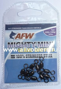 Вертлюжки AFW Mighty-Mini Crane Swivels #5 нагрузка 220LB/100кг (10шт/уп) FWSS05B-A